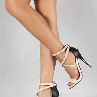 Qupid Studded Straps Open Toe Heel