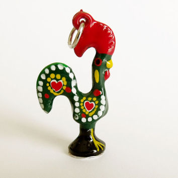 Portugal Barcelos Good luck Rooster charm pendant Green Portuguese folk jewelry art made in Portugal