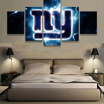 5 Pieces New York Giants NY Logo Modern Home Wall Decor Painting Canvas Art HD Print Painting Canvas Wall Picture For Home Decor