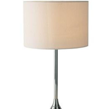 Dar DEL4250 Delta Table Lamp Chrome complete with Ivory Woven Shade