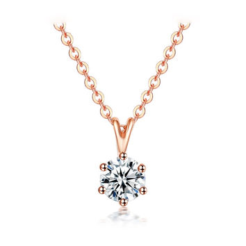 Lovely Rabbit Design Pendant Necklace Round Cubic Zirconia Diamond Rose Gold Plated