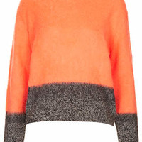 Knitted Contrast Wool Jumper - Orange