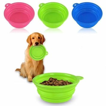 Cute Pet Dog Cat Silicone Collapsible Travel Bowl Dish Feeding Water Feeder New