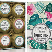 Bath Bombs By Divine Botanics Offering Large and Lush Fizzies with Organic and Natural Ingredients Including Moisturizing Oils Shea Butter and Essential Oils Made in USA - Unique and Perfect Gift Set