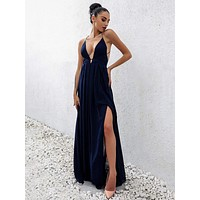 Joyfunear Open Back Plunge Split Prom Dress