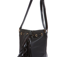 Black  Fringe Faux Leather Bag