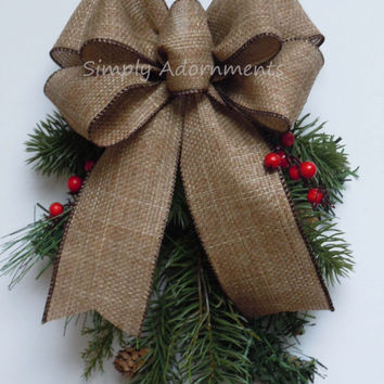 rustic burlap christmas bow door decor bow natural black merry c - Christmas Decorations Bows