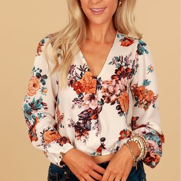 Floral Print Top White/Multi