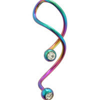 14G Steel CZ Anodized DNA Spiral Navel Barbell