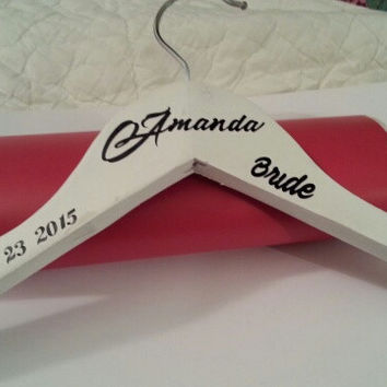 White Handcrafted personalized wedding hangers for bride / bridesmaids. Name, title, date.