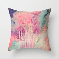 Pink Polar Castle  Throw Pillow by LANELLA TELLO