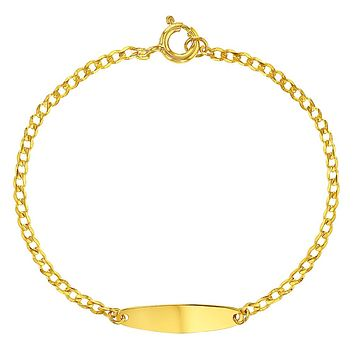 """Yellow Gold Flashed 925 Sterling Silver Tag Identification Bracelet Infants 5"""""""