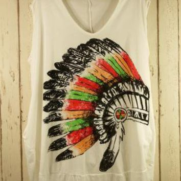 Multi Print Top - Sleeveless Indian Print Oversized T-Shirt | UsTrendy