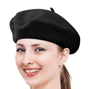 Women Ladies Solid Color Classic French Wool Beret Hat