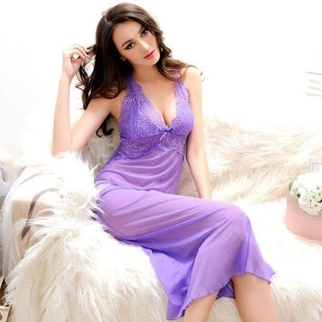 ICIK4S Summer Womens Nightdress With G-String Thongs Spaghetti Strap Backless Nightgown Sexy Nightgowns Long Nightwear Woman Sleepwear