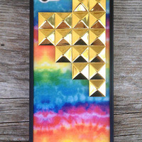 Tie Dye Gold Studded Pyramid iPhone 5 Case | Wildflower cases