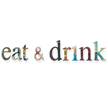 Recycled Tin Words - Eat & Drink