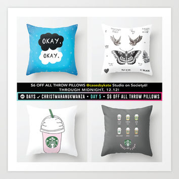 $6 Off all Throw Pillows at CasesbyKate! Art Print by Kate