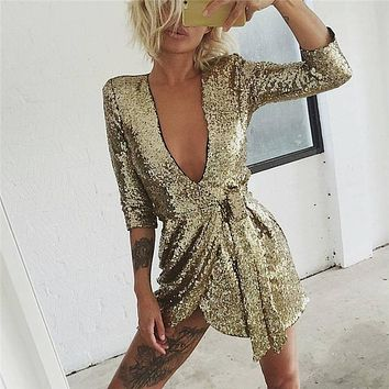 Try Everything Gold Sequin Dresses Women 2018 Summer Deep V Neck Sexy Dress Club Wear Mini Short Dresses Party Night Vestidos