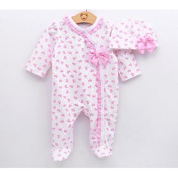 Baby Girl Clothes Bow Romper Clothing Set Jumpsuit Hat 2PC Cute Infant Girls Rompers Baby suit