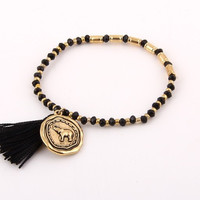 Black Elephant Stretch Bracelet