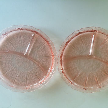 Jeannette Depression Glass Pink CHERRY BLOSSOM  Divided Oval Platter Pair