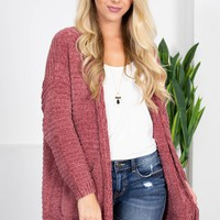 Rose Wine Chenille Cardigan