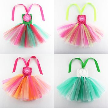 Sweet Candy Rainbow Flower Girl Tutu Dress for Birthday Photo Wedding Party Festival Kids Halloween Costume 2017 Floral
