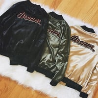 Dream Patch Satin Jacket (Olive)