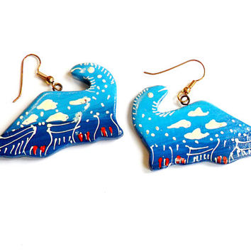 Vintage Blue Dinosaur Earrings - Hand Painted - Thailand Painted Earrings - French Wire Pierced - Deadstock NWOT - Unique Wood Earrings