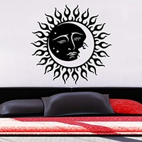 Wall Decal Sun Moon Sunshine Stars Crescent Dual Ethnic Stars Night Symbol Vinyl Sticker Decals Home Decor Art Bedroom Design Interior C138