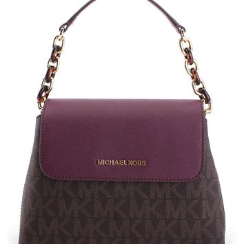 MICHAEL Michael Kors Portia Small East West Satchel Crossbody Bag Handbag Purse, Brown Plum