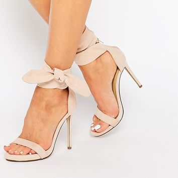 Missguided Knot Barely There Heeled Sandals at asos.com