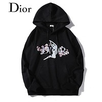 DIOR Newest Fashion Casual Cherry Blossom Digital Print Hoodie Sweater Sweatshirt Black