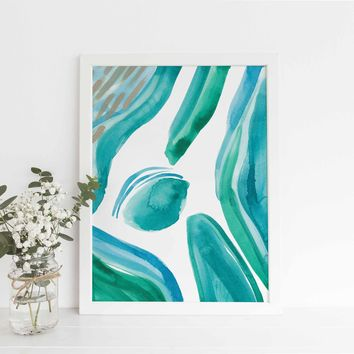 Tropical Ocean Abstract Watercolor Painting Wall Art Print