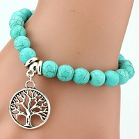 Turquois Beaded Yoga Bracelets