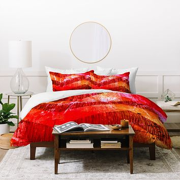 Sophia Buddenhagen Red Chevron Duvet Cover