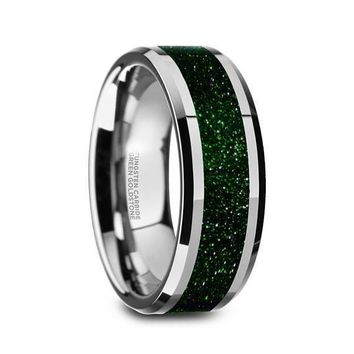 Mens Green Goldstone Inlay Tungsten Wedding Ring Beveled Polished Finish - 8mm