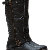 Black Faux Leather Quilted Double Buckled Boots