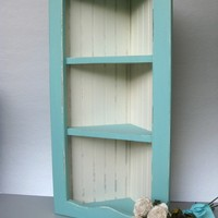 Coastal Blue Shabby Corner Shelf Vintage Beadboard by Swede13