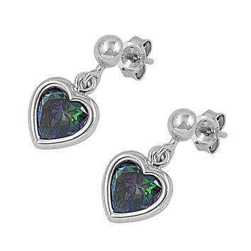 Sterling Silver Heart Dangle Rainbow Simulated Topaz CZ 18MM Earrings
