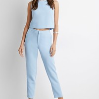 Textured Woven Cropped Trousers