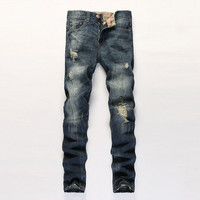Ripped Holes Slim Style Pants Jeans [6541762563]