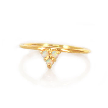 Gold Opal Trio Perch Ring