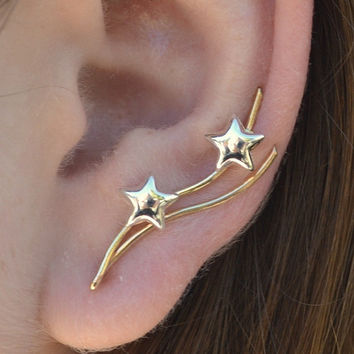 Stars Ear Pin - 14K Gold Filled and Sterling Silver - SINGLE SIDE