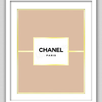 8 x 10 Wall Decor Print, Modern Home Decor, Chanel Home Decor-Chanel Label with Gold Border Print
