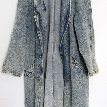 Vintage 80s 90s Acid Wash Blue Denim Jean Jacket Trench Coat Cotton Small Medium