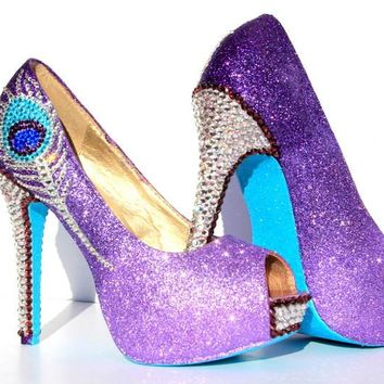 Purple Crystal Peacock Heels with Aqua Soles