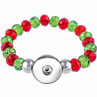 Christmas Snap bracelet 8mm Crystal Beads Snap Buttons  Jewelry (fit 18mm 20mm snap) BY5009