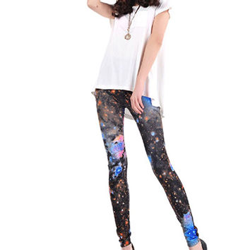Black Nebula Starry Sky Print Leggings TR0290132-3